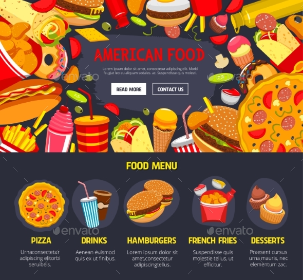 Vector Fast Food Web Site Landing Page Template - Food Objects