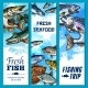 Vector Banners of Fishing Trip and Fish Catch