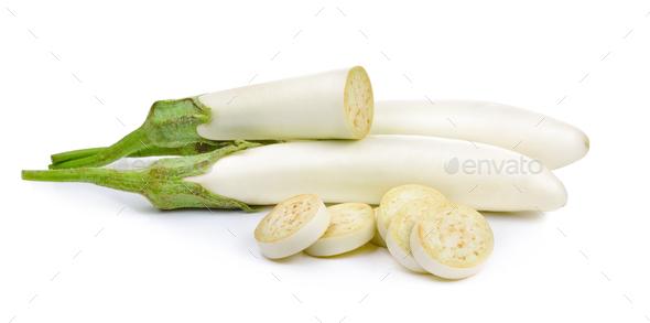 eggplant isolated on a white background - Stock Photo - Images