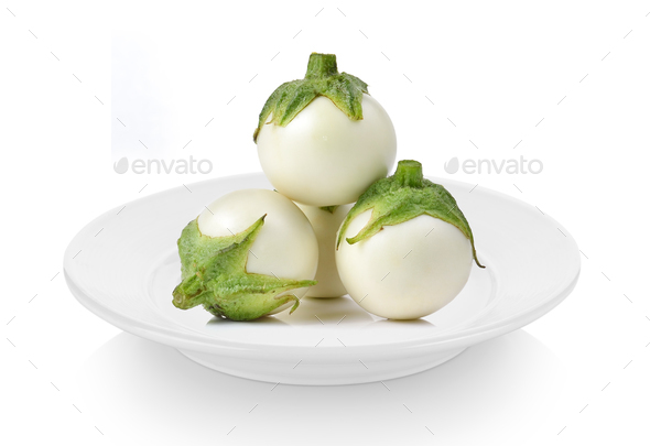 eggplant in ceramic plate on white background - Stock Photo - Images