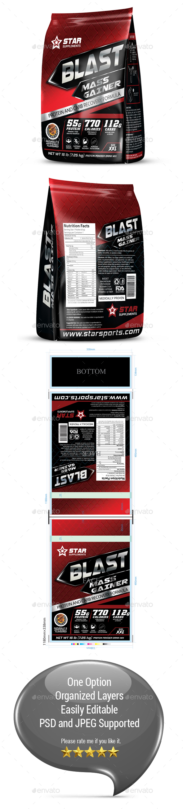 Protein Supplement Packaging Template Vol-37 - Packaging Print Templates