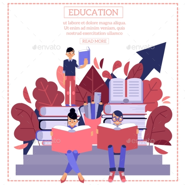 Education Process with Young Students Sitting - Miscellaneous Vectors