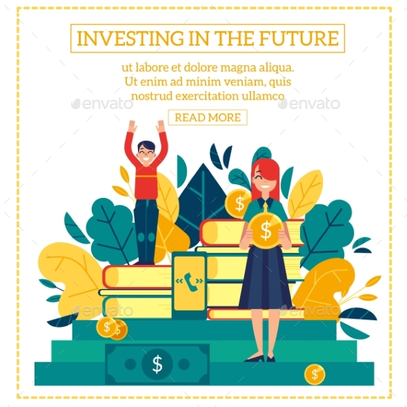 Investment Scene with Young Boy and Girl