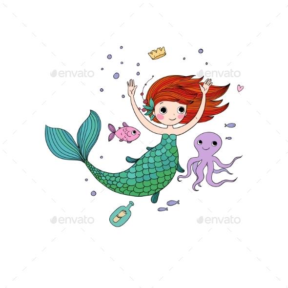 Cartoon Mermaid Siren Sea Theme - Animals Characters