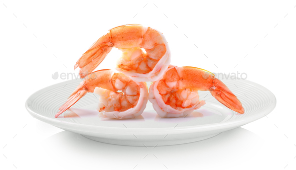 Boiled shrimp in white plate on white background - Stock Photo - Images