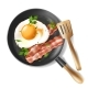 Vector Fried Eggs with Bacon Strips and Parsley