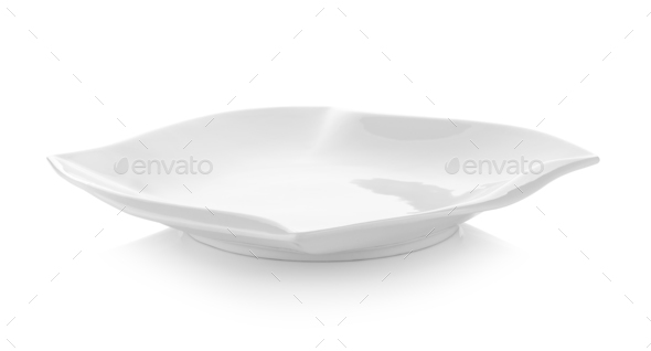 modern ceramic white plate on white background - Stock Photo - Images