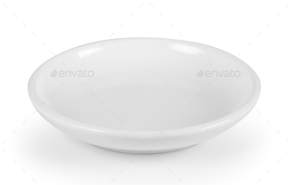 white seramic plate on white background - Stock Photo - Images