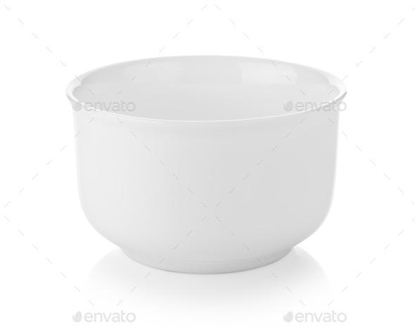 white bowl isolated on white background - Stock Photo - Images