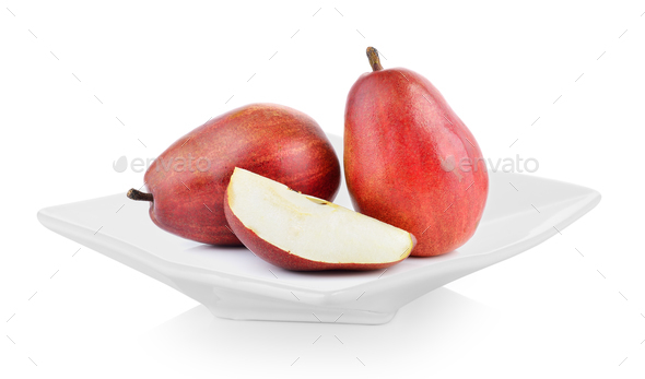 red pears in a plate on white background - Stock Photo - Images
