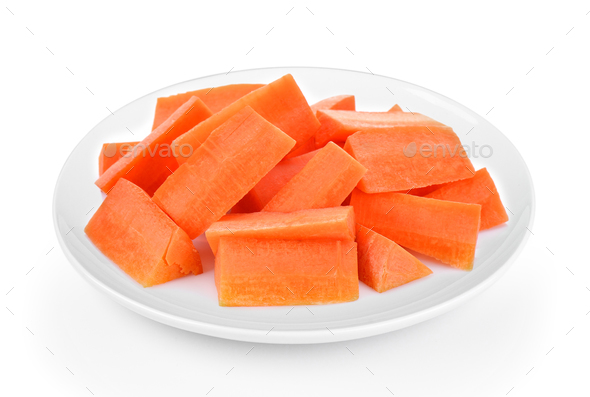 carrot slices in plate on white background - Stock Photo - Images