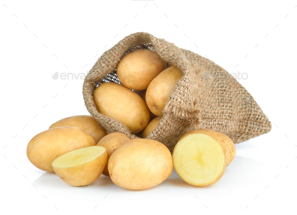 potato in the sack isolated on white background - Stock Photo - Images