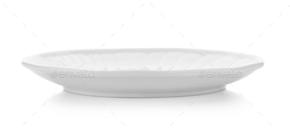 ceramic plate on white background - Stock Photo - Images