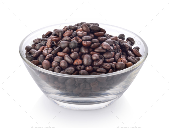 coffee seeds in a bowl on white background - Stock Photo - Images