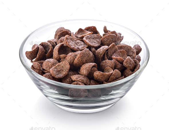 Chocolate corn flakes in a bowl on white background - Stock Photo - Images