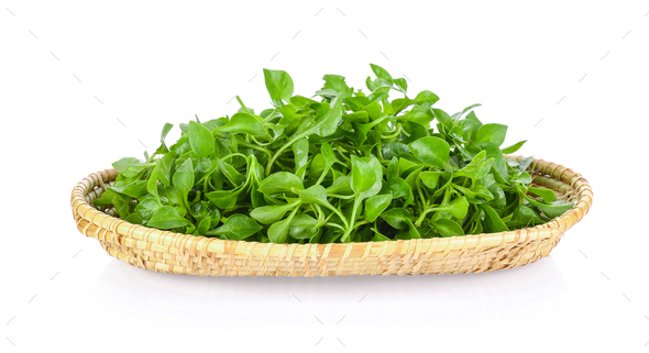 watercress in a basket isolated on white background - Stock Photo - Images