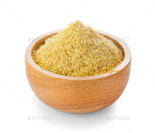 Wheat germ in wood bowl on white background - Stock Photo - Images