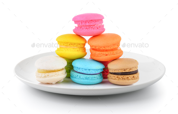 macaroons in a plate isolated on a white background - Stock Photo - Images