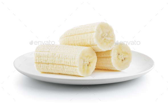slice banana in a plate isolated on a white background - Stock Photo - Images