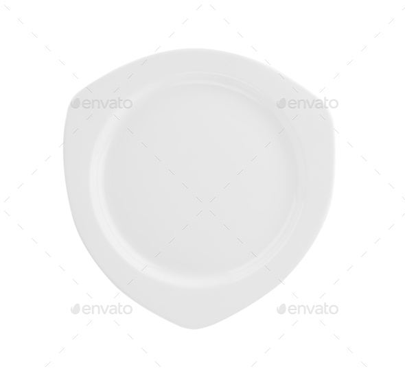 Beautiful shape ceramic plate on white background - Stock Photo - Images