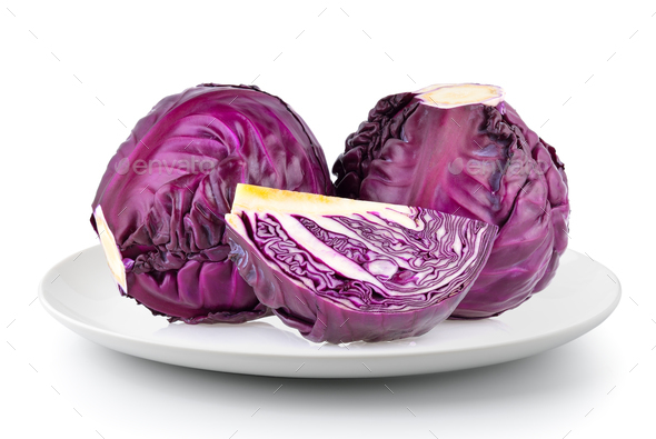 Purple cabbage in a  plate isolated on a white background - Stock Photo - Images
