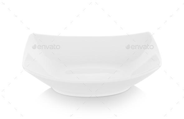 modern ceramic plate (beautiful shape) on white background - Stock Photo - Images