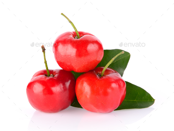 Barbados cherry on white background - Stock Photo - Images