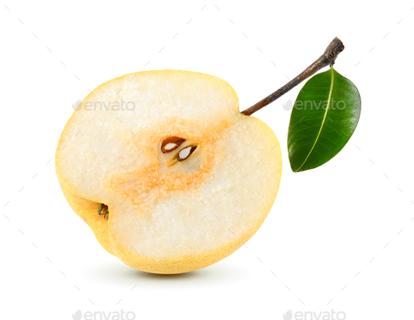 snow pear on white background - Stock Photo - Images