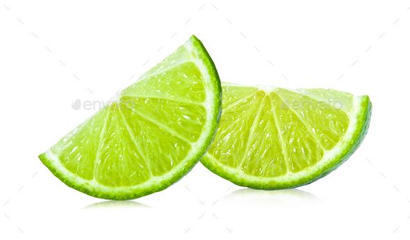 slice of lime isolated on white background - Stock Photo - Images