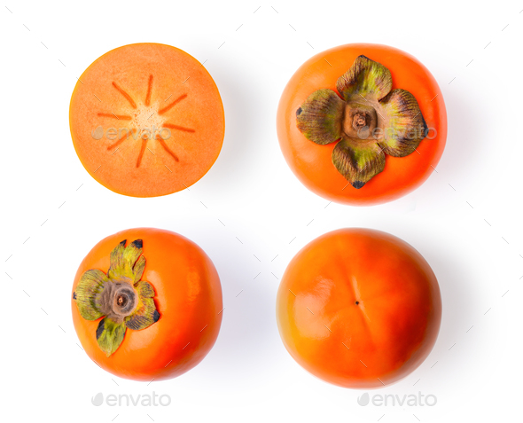 fresh ripe persimmons isolated on white background - Stock Photo - Images