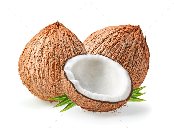 coconuts isolated on the white background - Stock Photo - Images