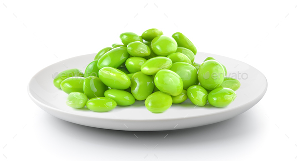 soy beans in a plate isolated on a white background - Stock Photo - Images