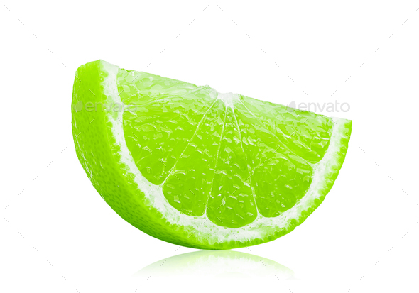 Juicy slice of lime isolated on white background - Stock Photo - Images