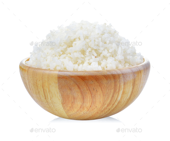 rice in wood bowl on white background - Stock Photo - Images
