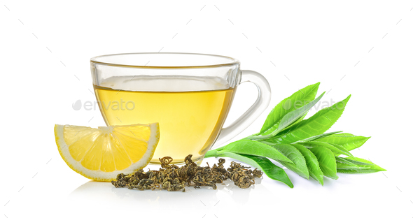 glass of tea and tea leaf on white background - Stock Photo - Images
