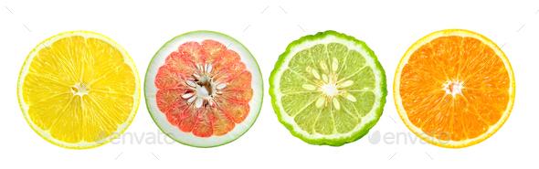 Citrus fruit. Orange, lemon, bergamot. Slices isolated on white - Stock Photo - Images