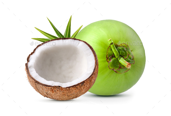 coconut on white background - Stock Photo - Images
