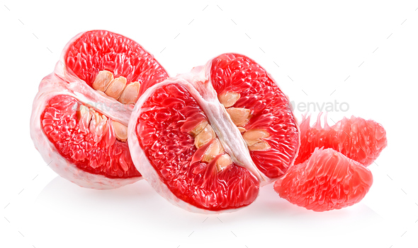 Grapefruit piece isolated on white background - Stock Photo - Images