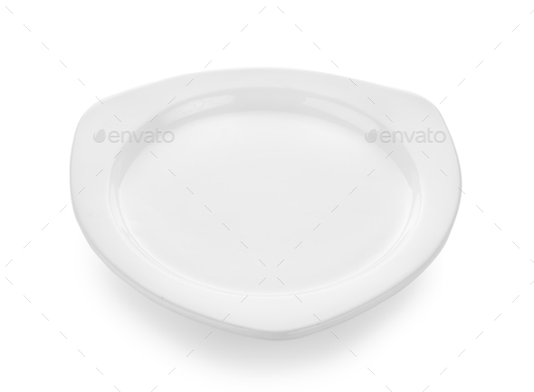 white plate and bowl on white background - Stock Photo - Images