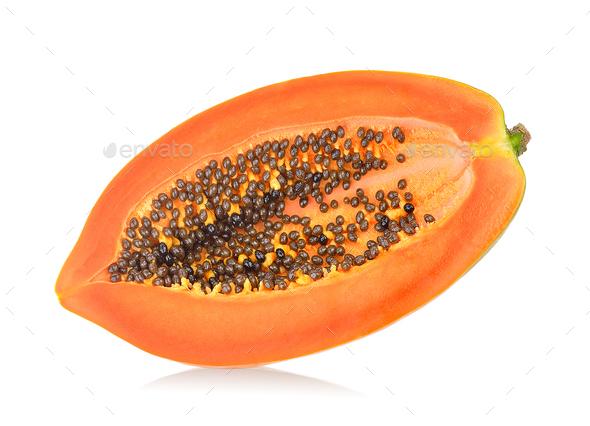 papaya slice on white background - Stock Photo - Images