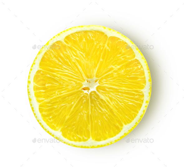 lemon slice isolated on white background - Stock Photo - Images