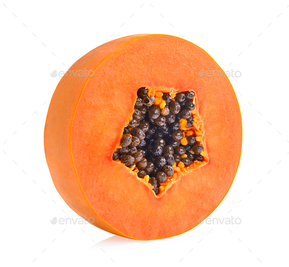 sliced ripe papaya with seed on with background - Stock Photo - Images