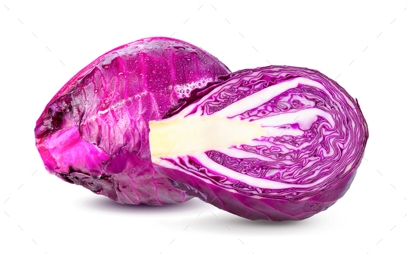 Purple cabbage on white background - Stock Photo - Images