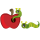 Green caterpillar on red apple - GraphicRiver Item for Sale