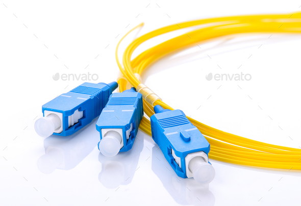 fiber optic coupler with SC connectors on white background - Stock Photo - Images
