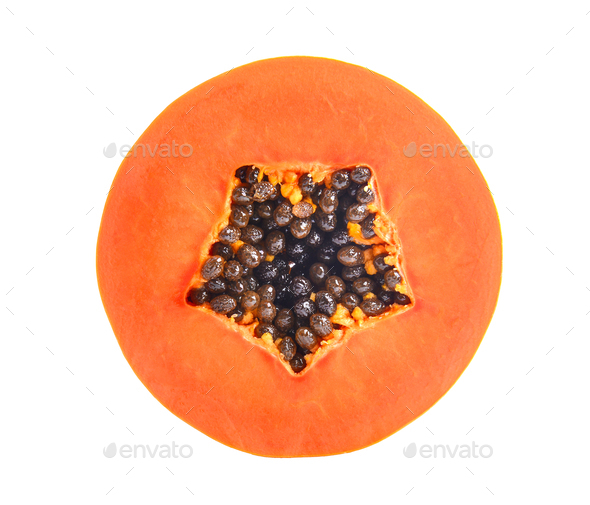 sliced ripe papaya with seed on with background. Full depth of f - Stock Photo - Images