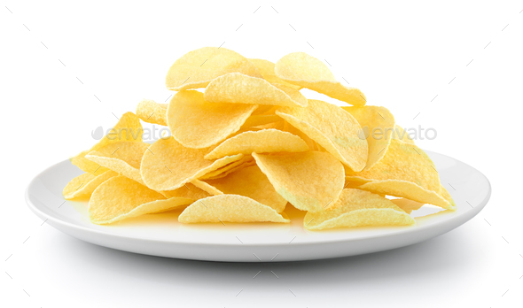 Potato chips in a plate isolated on a white background - Stock Photo - Images