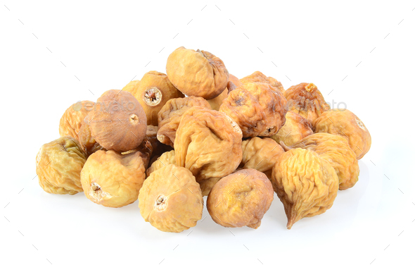 dried fig on white background - Stock Photo - Images