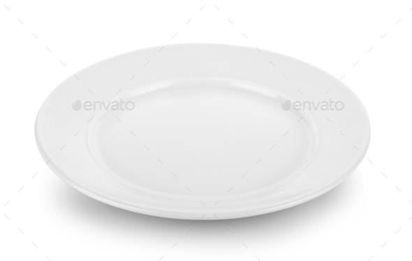 ceramic plate isolated on white background - Stock Photo - Images