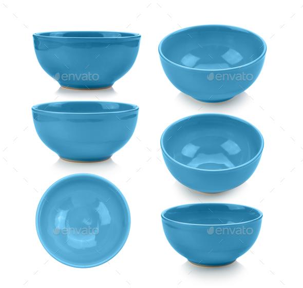 blue bowl on white background - Stock Photo - Images